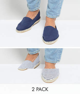 Asos Design Canvas Espadrilles in Navy and Blue Stripe 2 Pack SAVE