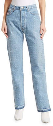 Frankie B. Baggy Reconstructed Rhinestone Jeans