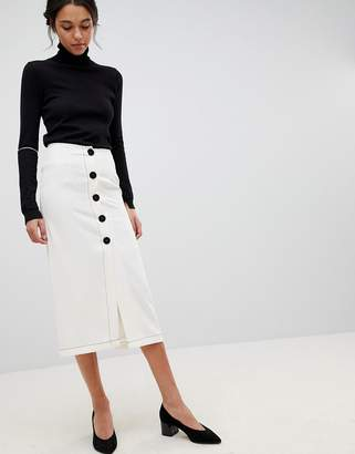 Asos DESIGN midi skirt with contrast buttons