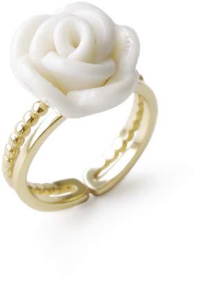 Poporcelain White Cloud Porcelain Rose Ring