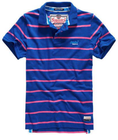 Neues Herren Miami Stripe Polo-Shirt Voltage Blau