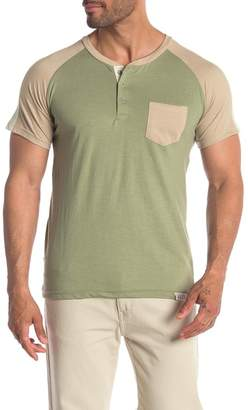 MTL APPAREL Raglan Colorblock Short Sleeve Henley