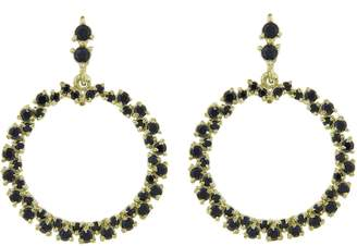 Ruta Reifen Black Spinel Show Love Hoop Earrings - Yellow Gold
