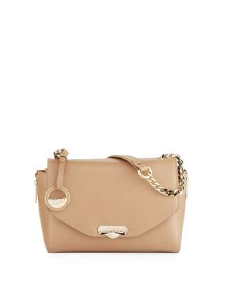 Versace Medium Saffiano Leather Shoulder Bag, Taupe
