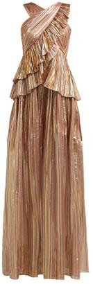 Peter Pilotto Striped Lame Chiffon Gown - Womens - Bronze