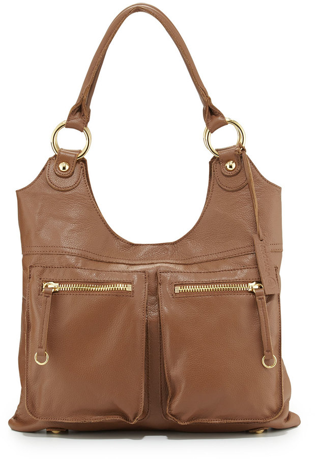 Linea Pelle LP by Dylan Front-Pocket Leather Tote Bag, Coffee Bean