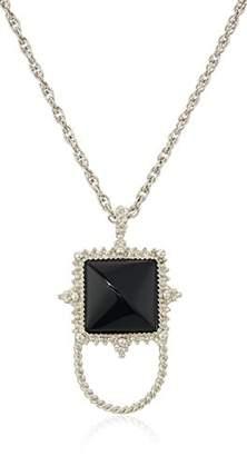1928 Jewelry Womens Silver-Tone Semi-Precious Onyx Square Eyeglass/Badge Holder Pendant Enhancer