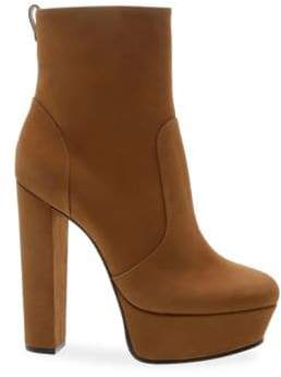 Schutz Women's July Suede Platform Ankle Boots - Tan - Size 5