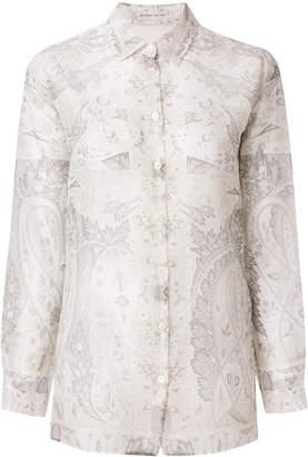 Etro mixed print sheer blouse