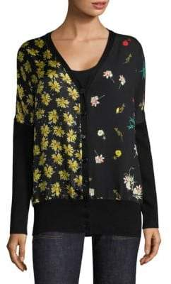 Derek Lam MIxed Print Button-Front Dolman Sweater