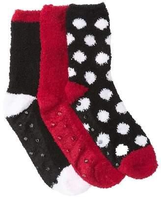Betsey Johnson Black Dot Patterned Fuzzy Socks - Pack of 3