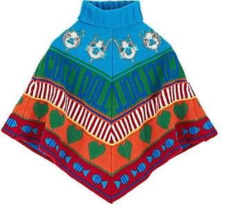 Gucci Kids' Mixed-Graphic Intarsia-Knit Wool Poncho
