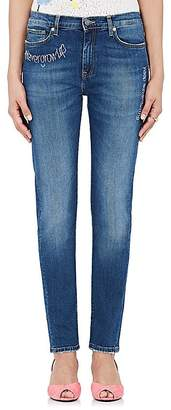 Mira Mikati Women's Embroidered-Words Skinny Jeans
