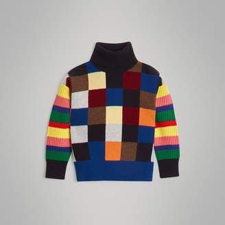 Burberry Patchwork Cashmere Roll-neck Sweater , Size: 8Y, Multicolour