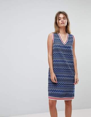 Diesel Glitter Stripe Dress With Tipping Detail