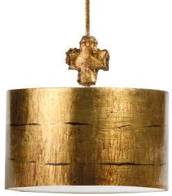 Fragment Gold - runde Hängelampe in antikem Look