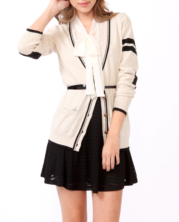 Forever 21 Elbow Patch Varsity Cardigan