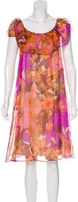 Tara Jarmon Off-The-Shoulder Silk Dress