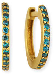 Dominique Cohen 18K Yellow Gold & Blue Diamond Huggie Hoop Earrings