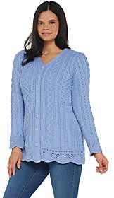 Aran Craft Merino Wool V-neck Sweater Cardiganw/ Scalloped