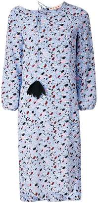 Marni patterned pom-pom long-sleeved dress