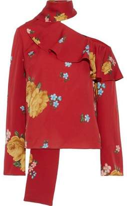 Magda Butrym Hanoi Cold-shoulder Ruffled Floral-print Silk-crepe Blouse