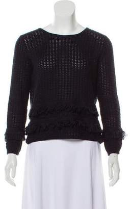 Cotton by Cashmere Scoop Neck Fringed Sweater