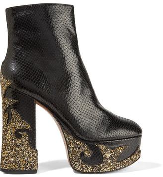 Marc Jacobs - Stasha Glittered Snake-effect Leather Platform Boots - Black $550 thestylecure.com