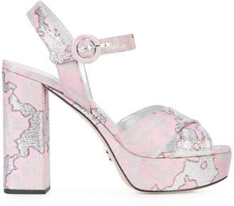 jacquard heeled sandals
