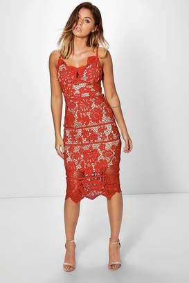 boohoo Boutique Jackie Scallop Lace Midi Dress $62 thestylecure.com