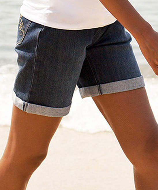 Indigo Over-Belly Maternity Denim Shorts