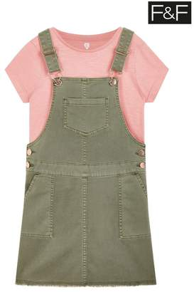 F&F Girls Khaki Denim Pinny And Top Set - Green