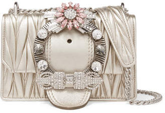 Miu Miu Miu Lady Crystal-embellished Metallic Matelassé Leather Shoulder Bag - Gold