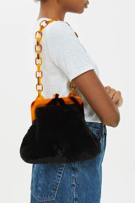 Topshop Faux Fur Frame Tortoiseshell Shoulder Bag