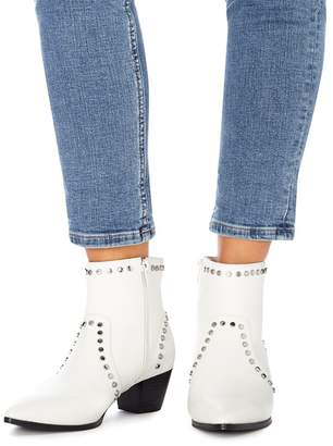 Faith White Studded 'Bud' Mid Block Heel Ankle Boots