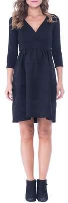 Olian Faux Suede & Ponte Surplice Maternity Dress