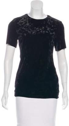 Tibi Velvet Short Sleeve Top