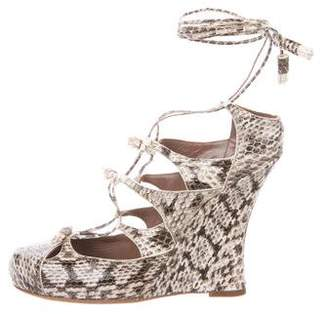 Tabitha Simmons Snakeskin Wedge Pumps