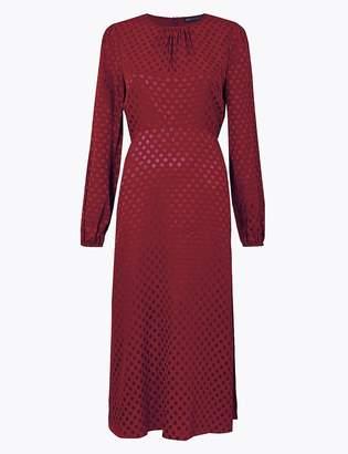 Marks and Spencer Jacquard Spot Fit & Flare Midi Dress