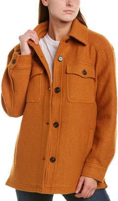 AVEC LES FILLES Boiled Wool-Blend Shirt Jacket
