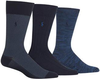 Polo Ralph Lauren Men's Big & Tall 3-Pk. 3 Pack Super-Soft Birdseye Dress Socks