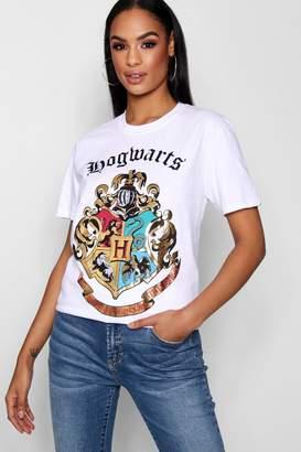 boohoo Hogwarts Foil Print T-Shirt