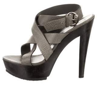 Gucci Leather Platform Sandals Grey Leather Platform Sandals