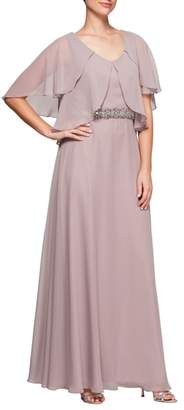 Alex Evenings Embellished Waist Flutter Sleeve Chiffon Gown
