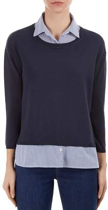 Gerard Darel Pinstriped Layered-Look Sweater