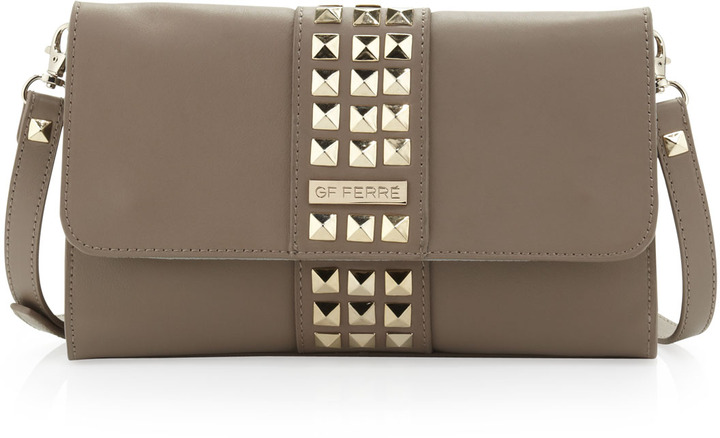 Gianfranco Ferre GF Studded Flap Crossbody Clutch Bag, Brown