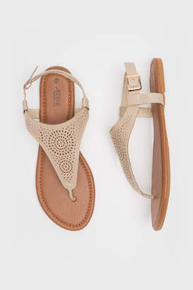 Ardene Cut Out T-Strap Sandals