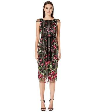Marchesa Cap Sleeve Embroidered Tea-Length Gown w/ Beaded Detailing and Velvet Ribbon Waist Trim
