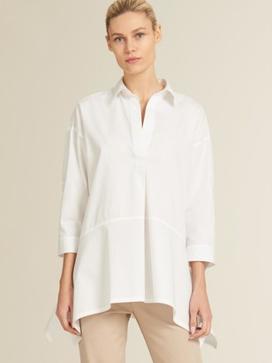 DKNY Poplin Half Placket Trapeze Top White XX-Small