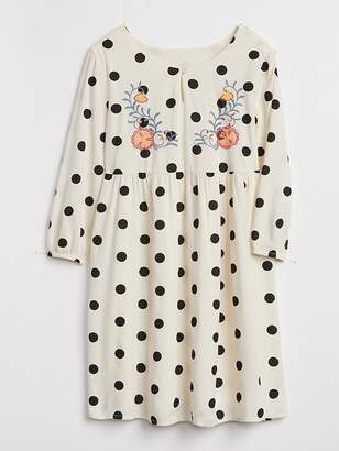 Gap Embroidered Dot Dress